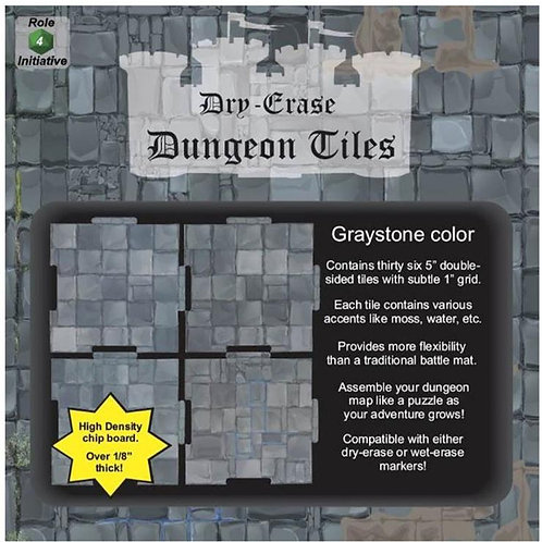 "Graystone Dry-Erase Dungeon Tiles (Thirty-Six 5"")"