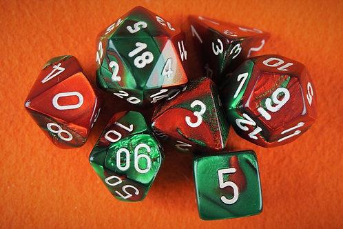 Ensemble de 7 dés polyhédriques Chessex - Gemini Green-Red/white