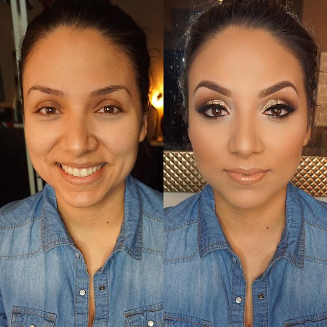 Before and After ✨Glitter Glam ✨on my beautiful bride to be! _Eye deets next! Stay tuned! _Mua_ #mar