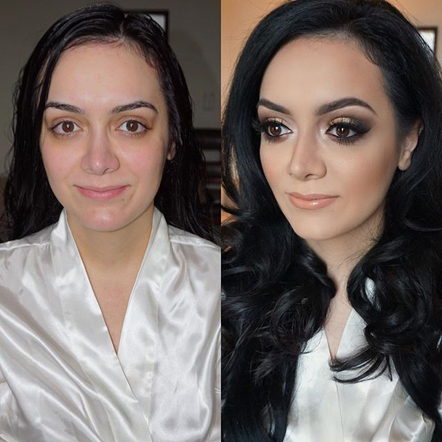 Smokey glam for my beautiful bride! 👰🏻 Before and After!! Mua_ #marlyn_v _Hair_ _nubianbeautyonlin