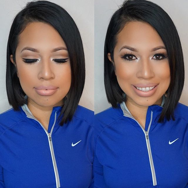 Today's birthday glam 🎉 on my boo _amillilex We did her signature matte cut crease and nude lips! M