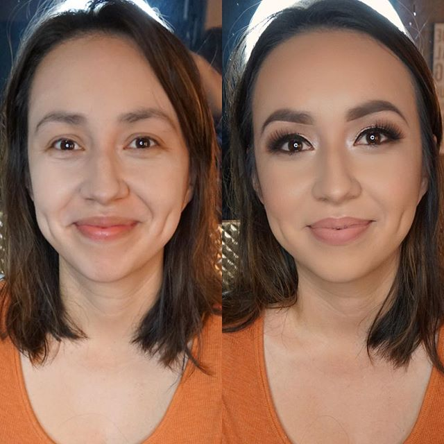 Before and After glam! 💄 _Brows _anastasiabeverlyhills brow powder soft brown and dip brow chocolat