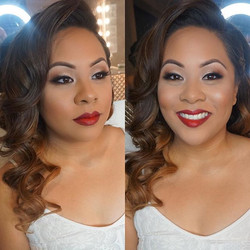 Today's beautiful bride👰🏻💍 Soft smokey glam and bold lip to complete her vintage look!  Mua: #mar