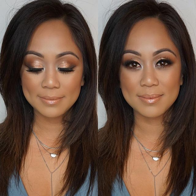 Bronzy glam on this beauty😍 Love seeing my past brides after the big day! For brows I used  _anasta