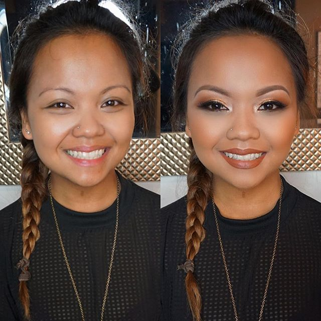 Before and After birthday glam on this beauty! This lip combo was everything! 💄 _nyxcosmetics nutme