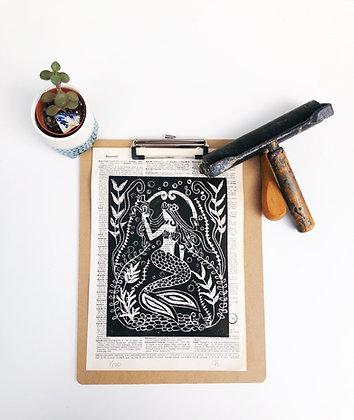 Lino Print Mermaid