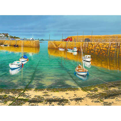 Mousehole Harbour. Sunshine after Rain Passes to Penzance