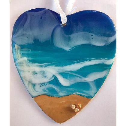 Seascape Resin Shaped Heart