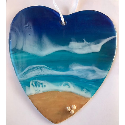 Seascape Resin Heart