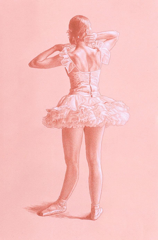 Dancer's Back-prismacolor and white