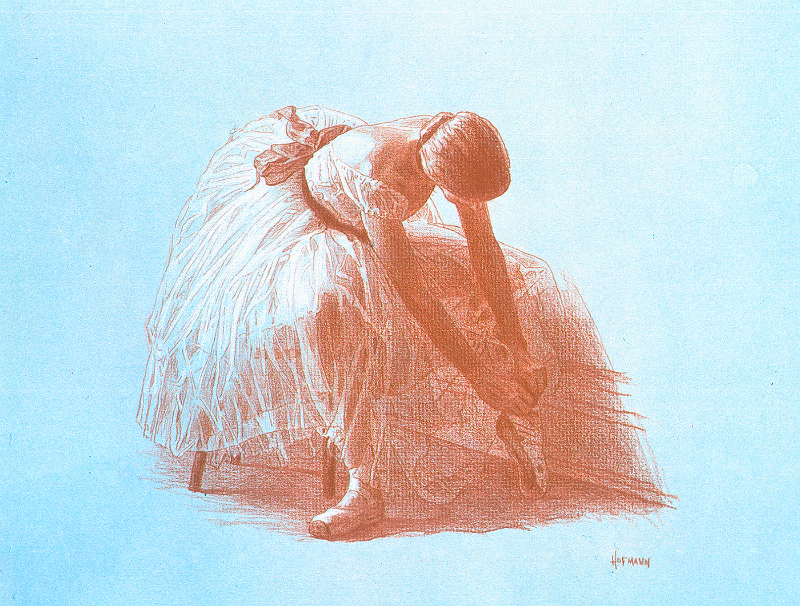 Dancer Tying-prismacolor and white