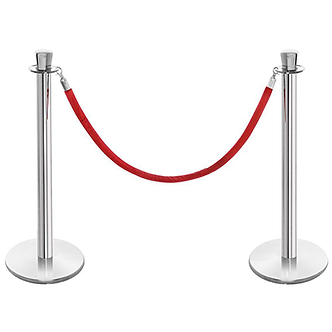 2 Silver stanchions and 1 Red rope