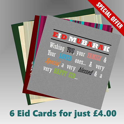 Pack of 6 Eid Cards