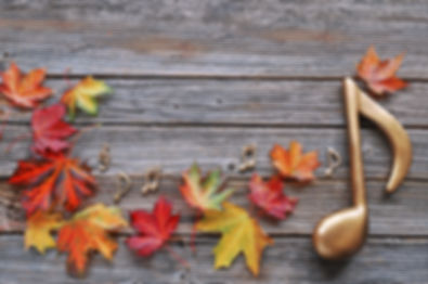 Maple  autumn leaves with music note on