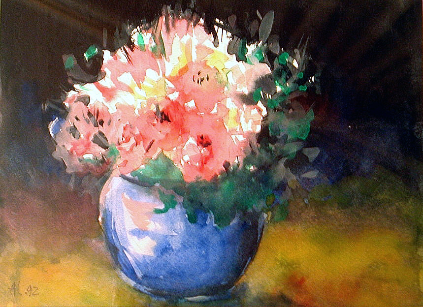 Fleurs au vase bleu