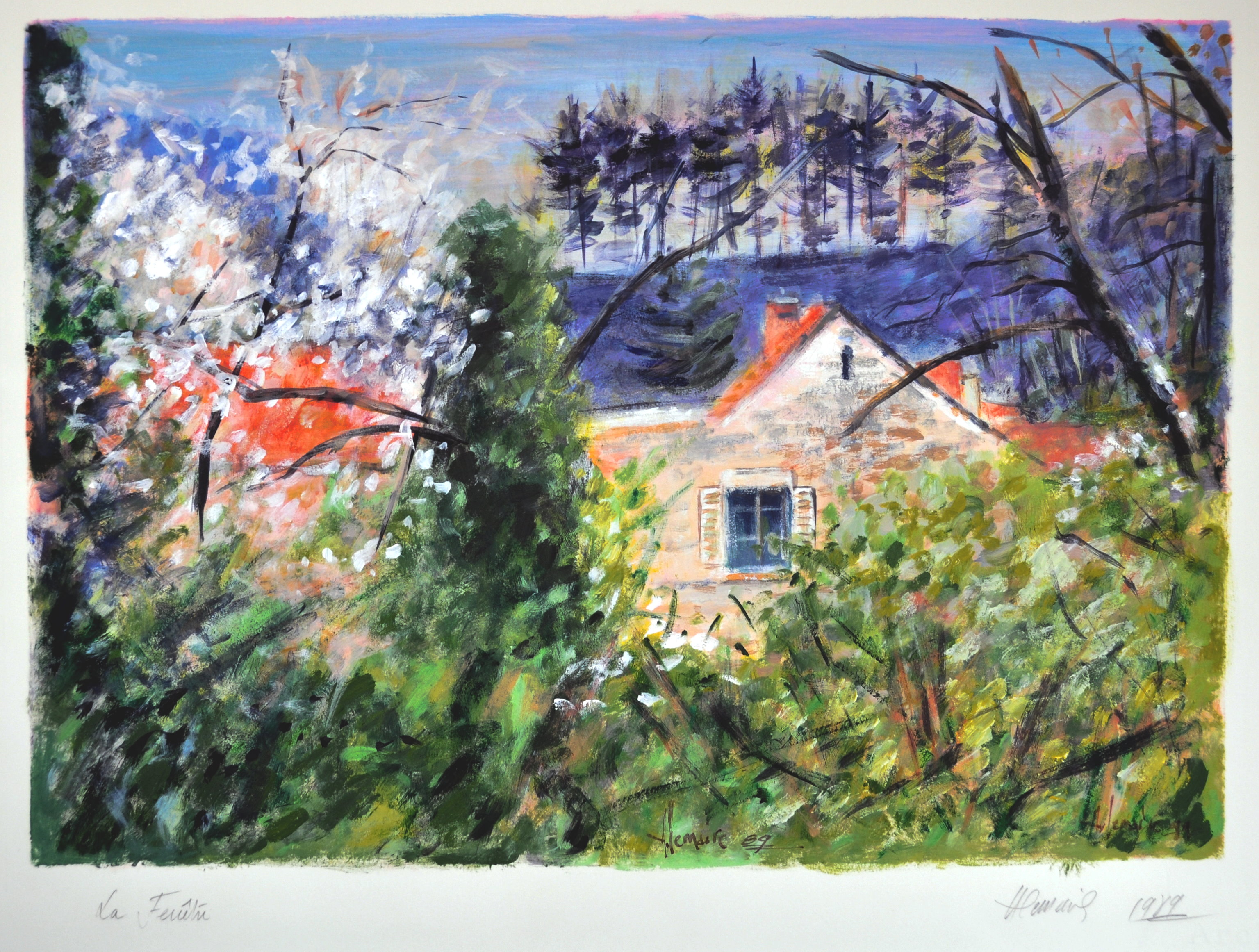 La fenêtre, cerisier en fleurs