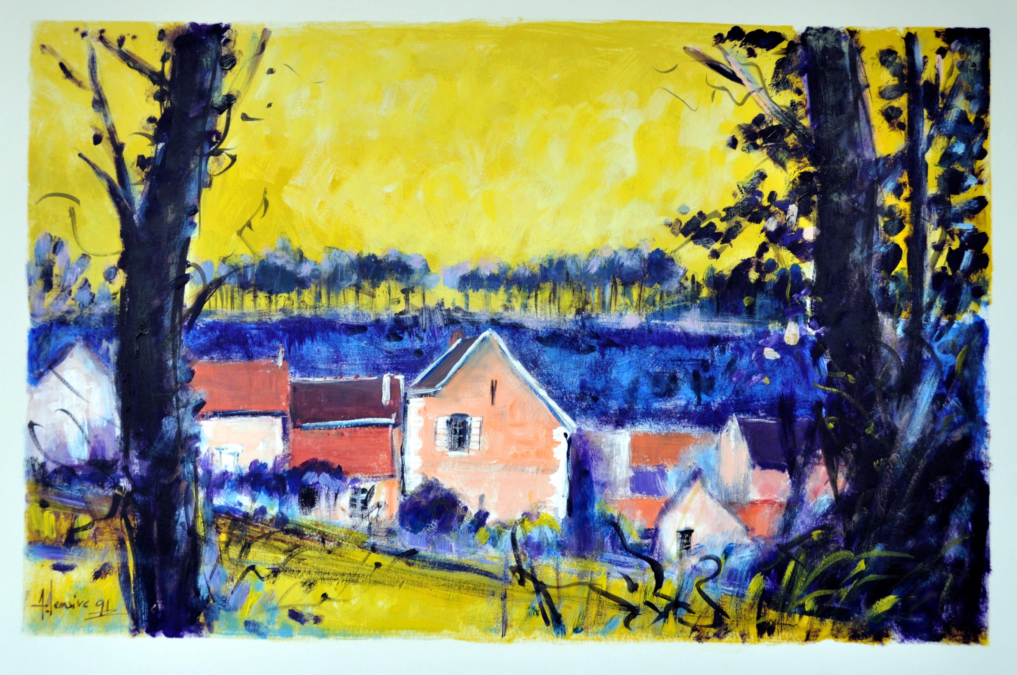 Champs bleus sur ciel jaune