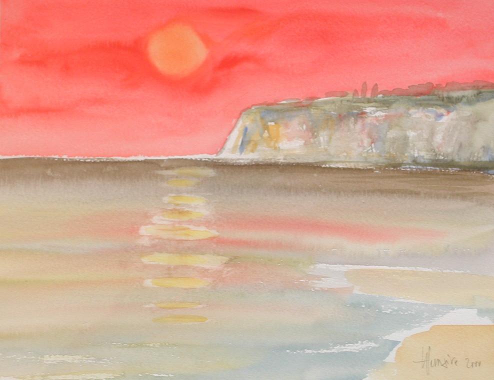 Ciel rouge sur la falaise de craie