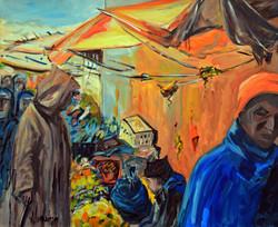 Scène de marché à Fez