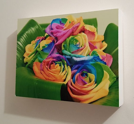 Block Art - Floral Rainbow