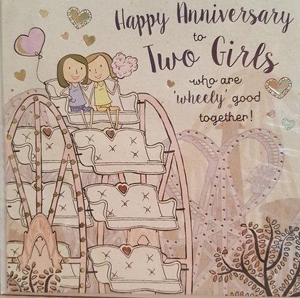 Card - Happy Anniversary - 2 Girls