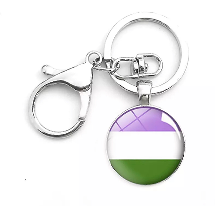 Genderqueer Dome Keychain