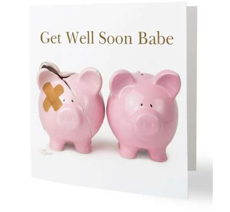 Card - Get Well Soon - Pigs