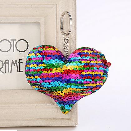 Rainbow Sequin Heart Keychain