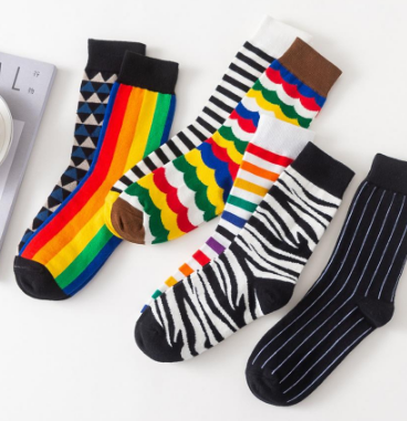 Rainbow Cotton Socks - Black
