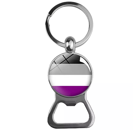 Asexual Dome Bottle Opener Keychain
