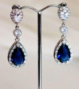 Silver Sapphire Rhinestone Earrings