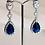 Thumbnail: Silver Sapphire Rhinestone Earrings