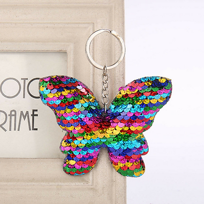 Rainbow Sequin Butterfly Keychain