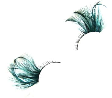 Feather False Eyelashes (Peacock Blue)