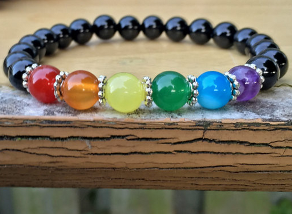 Unisex Glass Bead Gay Pride Bracelet