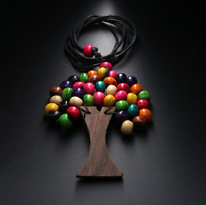 Wooden Handmade Tree of Life Rainbow Necklace