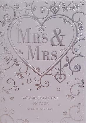 Card - Mrs & Mrs Congratulations - Silver