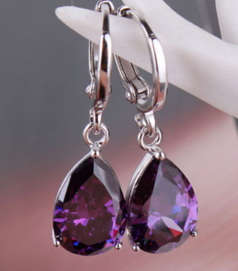 Silver Teardrop Amethyst Earrings - Purple