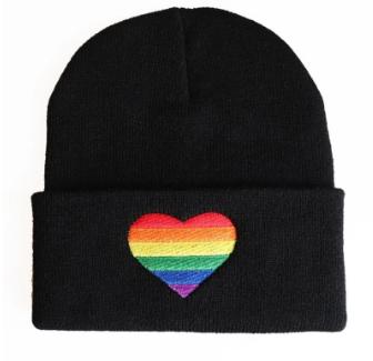 Unisex Adult Pride Heart Beanie (Black)