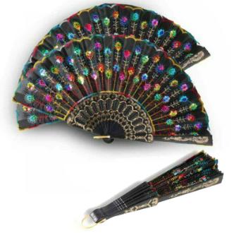 Vintage Rainbow Peacock Fan