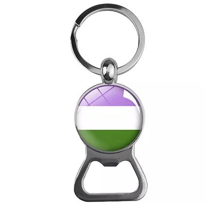 Genderqueer Dome Bottle Opener Keychain