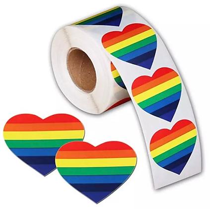 500 x Pride HEART Stickers