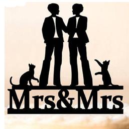 Lesbian Cake Topper - Mrs & Mrs Cats