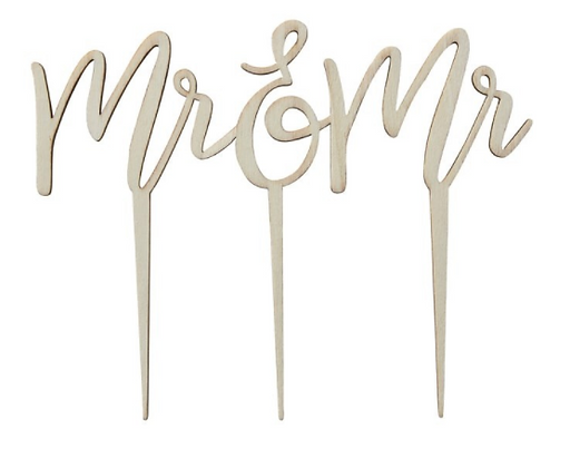 Gay Cake Topper - Mr & Mr (wooden)