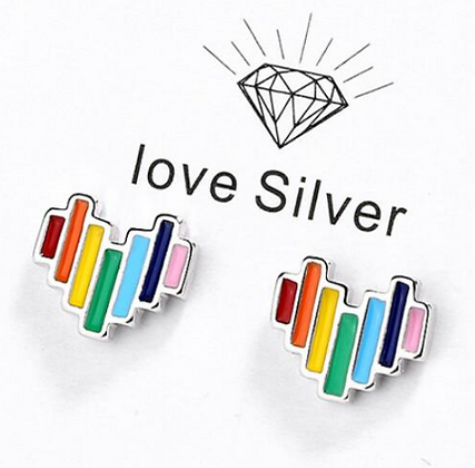 Pride 925 Silver Heart Earrings