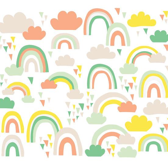 מדבקות קיר קשת בענן בצבעי מיקס צהוב