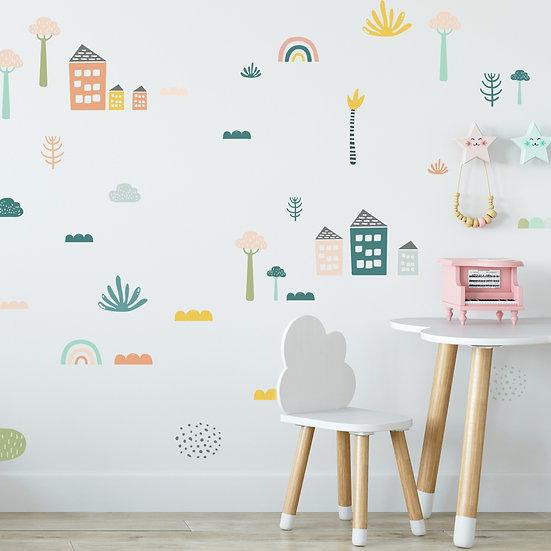 מדבקות קיר בתים ועצים בצבעי פסטל
