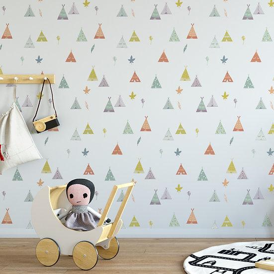 מדבקות קיר אוהל טיפי בצבעי פסטל