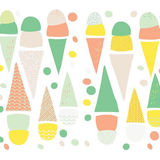 מדבקות קיר גלידה בצבעי מיקס צהוב