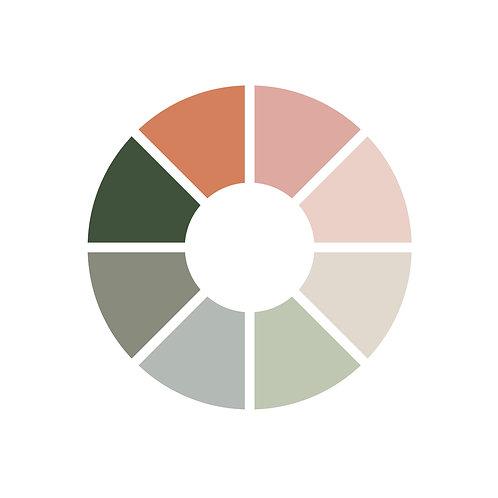 פלטת צבעים ורודים,מנטה,אפור,כתום,ירוקים